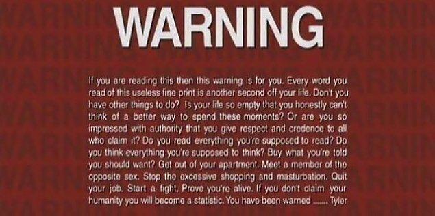 5. Dövüş Kulübü'nün jeneriğinde geçen bu uyarı yazısı şunları diyor;