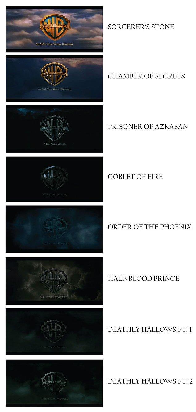 8. Harry Potter serisinde çıkan her film için Warner Bros logosu giderek daha da karanlık bir hava kazanıyor.