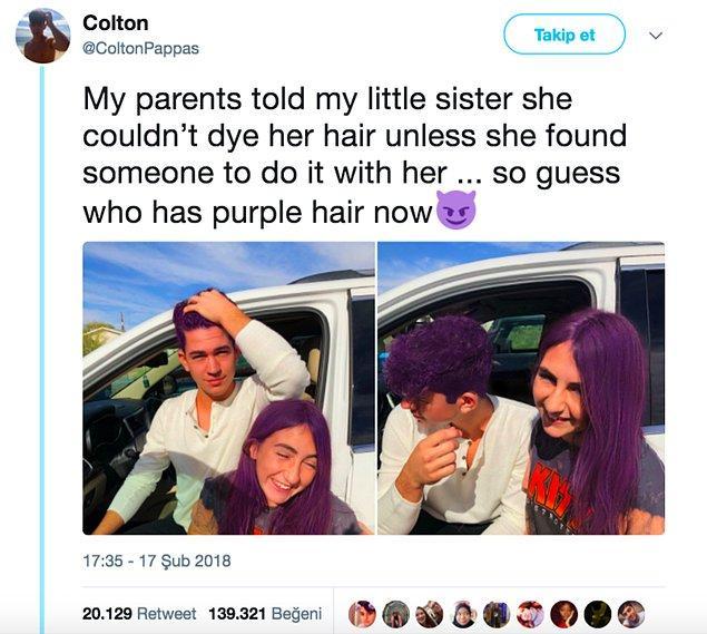 10. Annemle babam, kız kardeşime eşlik edecek birini bulmazsa saçını mora boyayamayacağını söylemişlerdi... Bilin bakalım şimdi kim mor saçlı? 😈