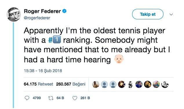 13. Görünüşe bakılırsa 1 numaraya oturmuş en yaşlı tenis oyuncusu benim. Bunu bana önceden söyleyen olmuştur ama muhtemelen işitme zorluğu çektim 🧓🏻