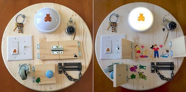 20. Daire şeklinde bir suntanın üzerine evdeki malzemeler ya da nalburdan alabileceğiniz ilgi çekici eşyaları monte edebilirsiniz.