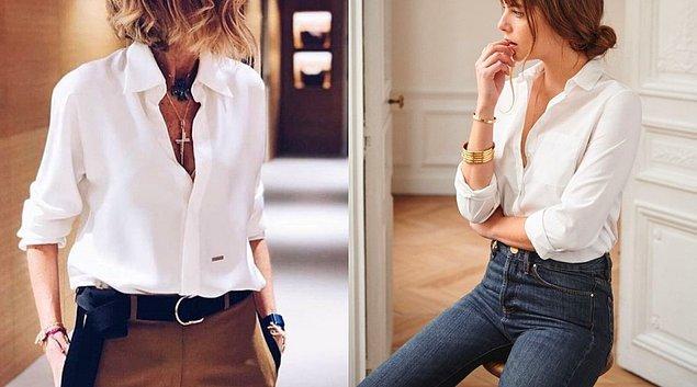 Renklerden konu açılmışken dolabınızda her daim beyaz bir gömlek veya bluz bulundurun.