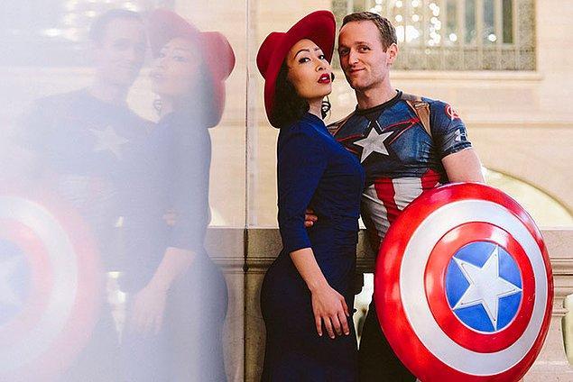 """""""Kaptan Amerika""""dan Peggy Carter ve Captain America"""