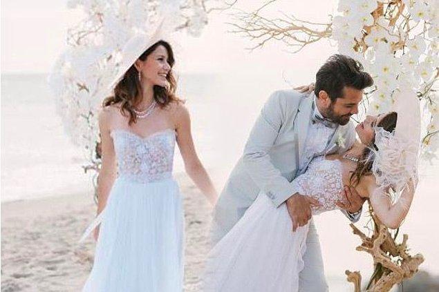 Kenan Doğulu ile evlenen güzel oyuncunun gelinliği çok beğenilmişti.