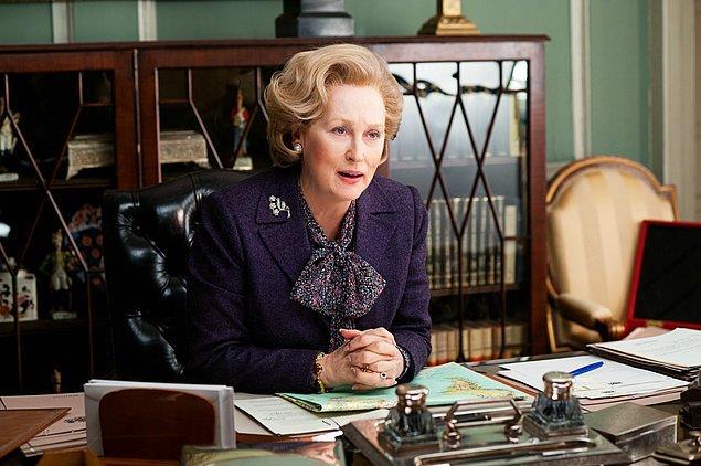 """17. Zira Margaret Thatcher'a hayat verdiği Demir Leydi adlı filmiyle 2012 yılında elde ettiği """"En İyi Kadın Oyuncu"""" dalında adaylıkla beraber..."""