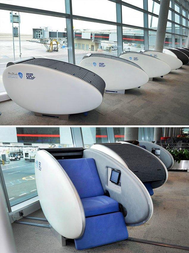 26. Abu Dabi Uluslararası Havalimanı'ndaki uyku kapsülleri 💤