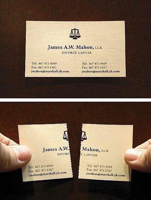 """25. Bir boşanma avukatının kartviziti. (""""Ayırmayı"""" hayat felsefesi haline getirdiyse demek.) 👀"""