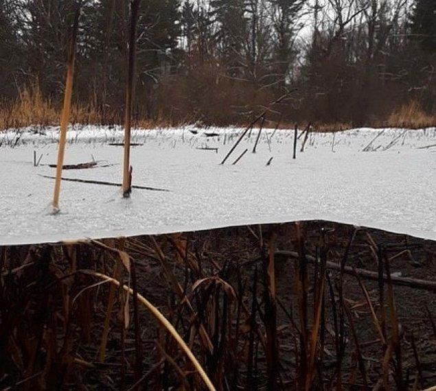 4. Havada süzülen bir katman buz...
