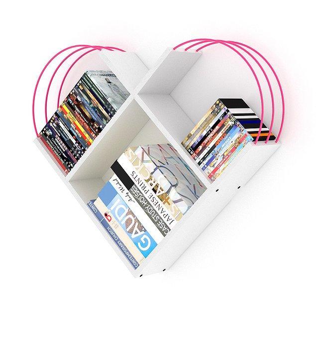 3. İflah olmaz kitap kurtları için de çok tatlış bir seçenek var! Kalp şeklindeki bu tasarım raf sistemine ne dersiniz?