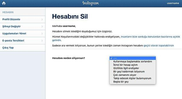1. Instagram Kalıcı Hesap Silme Linkine Gidin