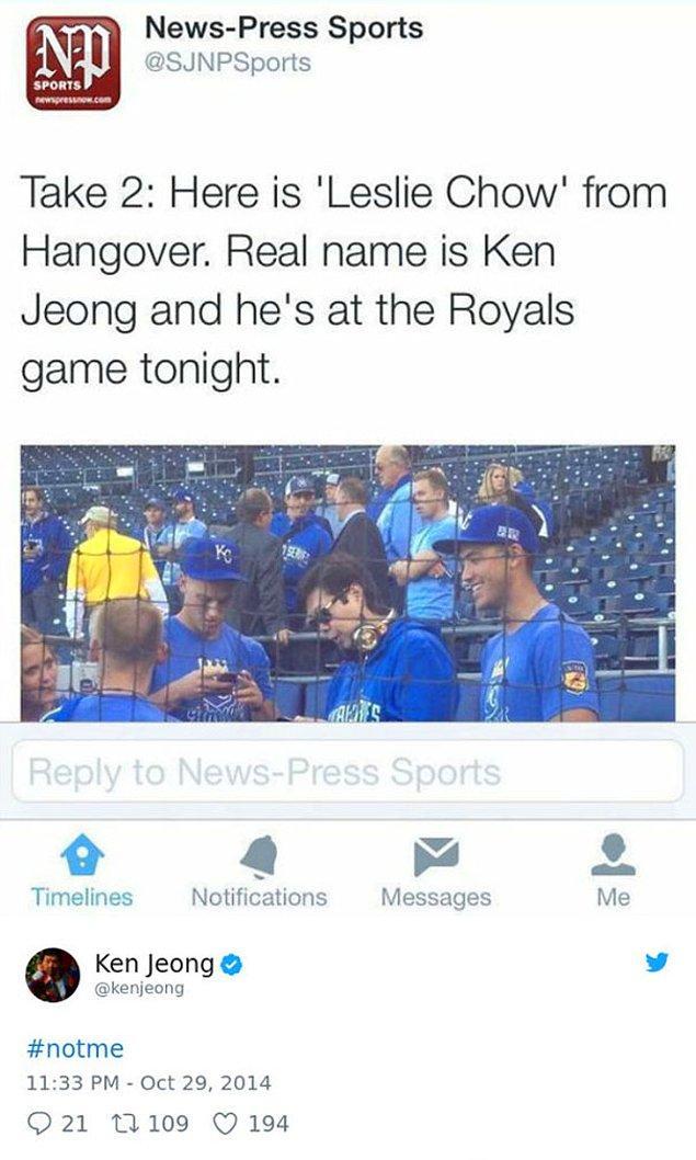 16. Spor kanalı, Hangover'dan Leslie Chow olarak tanıdığımız Ken Jeong'u Royals maçında zannetti.