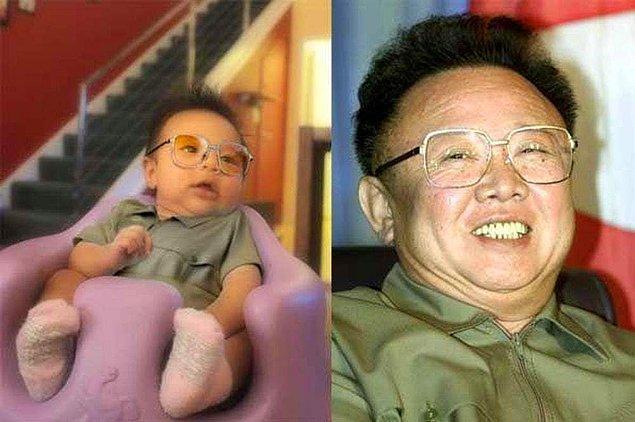 17. Bebeğin doğuştan lider oluşu! Kim Jong Il'e benzemek de kolay değil yani...