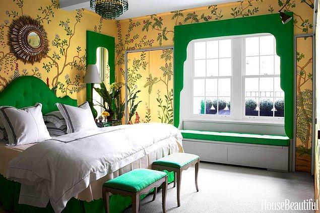 13. Hardal ve zümrüt tonları ile el yapımı küçük cennet yatak odası