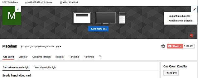 Youtube Kanalınızın Kapak Fotoğrafını ve Bağlantılarını Düzenleyin