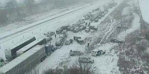 Yoldaki Buzlanmadan Dolayı Onlarca Aracın Birbirine Girdiği Son Zamanların En Büyük Zincirleme Kazası