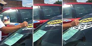 İzlemesi Aşırı Keyifli Şeylerde Bugün: Araç Camına Fırçayla Yazı Yazan Adam