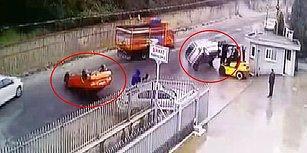 Patron Çıldırdı! Kapının Girişine Park Eden Araçları Forkliftle Yolun Ortasına Fırlatan Adam