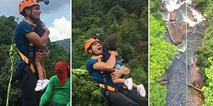 Küçük Kızıyla Bungee Jumping Yapan Babanın Yürekleri Ağza Getiren Görüntüleri