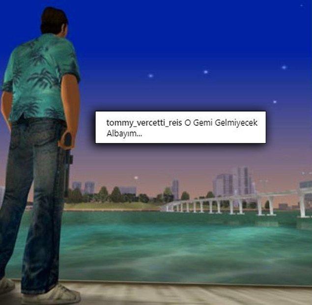 GTA Vice City oyun karakteri olan Tommy Vercetti'nin fotoğraflarını bizden biriymiş gibi paylaşan bir hesap.