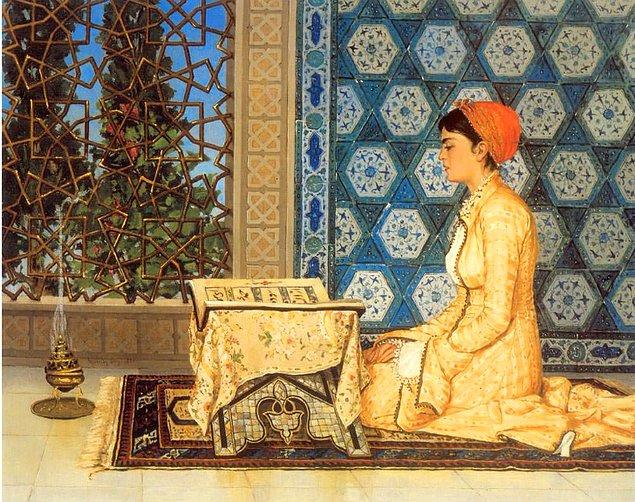 1880 yılında resmedilmiş olan Osman Hamdi Bey'e ait bu muazzam tablo, kullanılan figür ve renkleriyle Türk İslam kültürünün en iyi resmediliş örneklerinden.