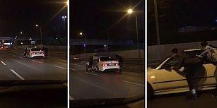 E5'te Otomobile Tutunarak Paten Yapan Çılgın Gençler