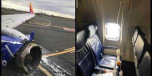 Motorda Yaşanan Patlamadan Sonra Kırılan Camıyla Acil İniş Yapan Uçağın İçinden Görüntüler Yayınlandı!