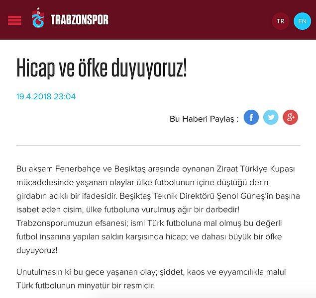 """Trabzonspor: """"Şenol Güneş'in başına isabet eden cisim, ülke futboluna vurulmuş ağır bir darbedir."""""""