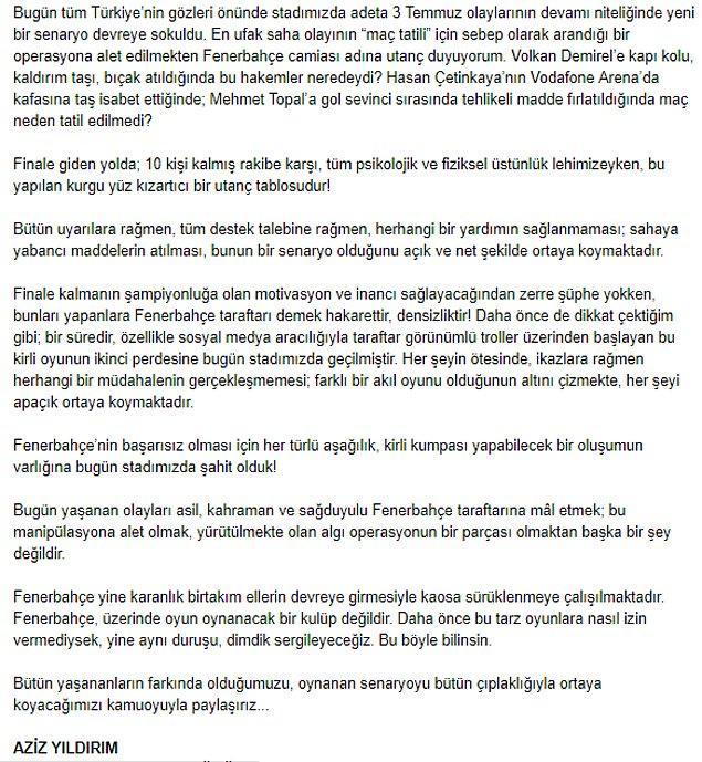 """Aziz Yıldırım: """"Fenerbahçe'nin başarısız olması için her türlü aşağılık, kirli kumpası yapabilecek bir oluşumun varlığına bugün stadımızda şahit olduk!"""""""