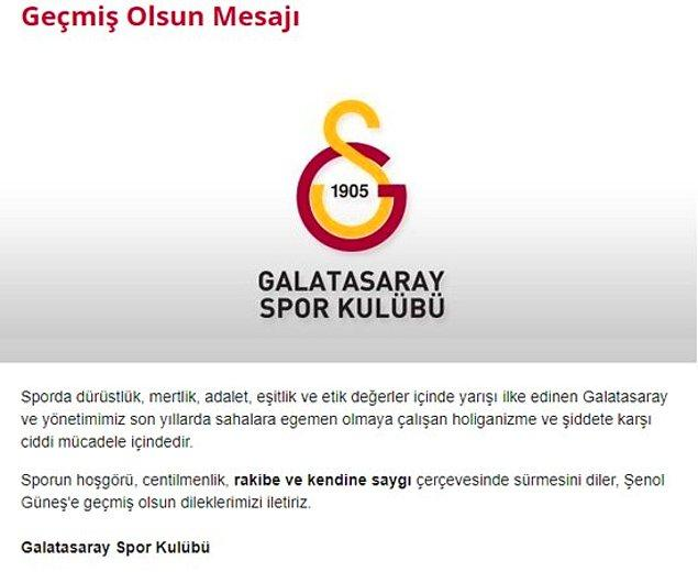 Galatasaray, Şenol Güneş'e geçmiş olsun mesajı yayınladı.