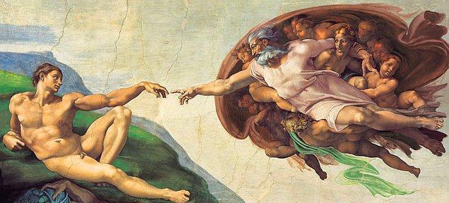 4. Dünyaca ünlü ressam Michelangelo'nun 'Adem'in Yaratılışı' eserinde Tanrı figürünün içinden çıktığı cisim incelendiğinde beyne benzediği keşfedildi. Çağdaşlarıyla birlikte insan vücudunu incelemek amacıyla kadavralarla çalışan ünlü ressamın verdiği mesaj sırrını yüz yıllardır koruyor.
