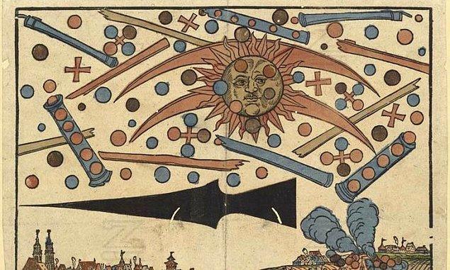 6. 1561 yılında Nuremberg'de Hans Glasser tarafından çizilen bu resmin gizemi hâlâ çözülemedi. Gökyüzünde beliren küreler, haçlar, tüpler; ardından çıkan yangın ve Nuremberg'e ulaşılamaması olayın gizemini daha da büyütüyor.