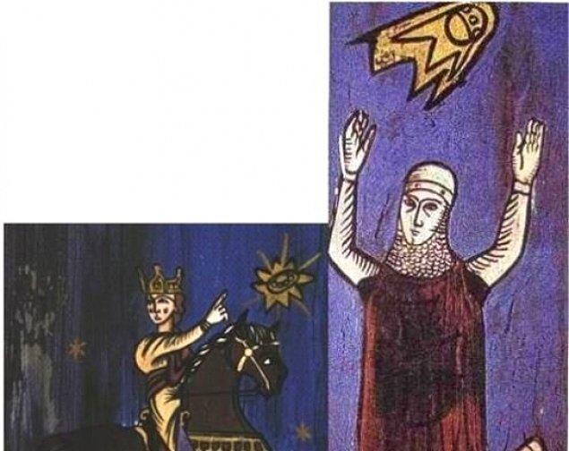 11. 776 yılındaki Sigiburg kuşatmasını anlatan bu görüntülerde uçan cisimler tasvir ediliyor. Bu çizimler düzmece olarak tanımlansa da, kuşatmanın tek bir ok bile atılmadan sona ermesi sırrını hâlâ koruyor.