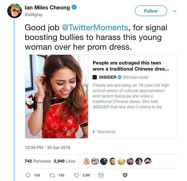 Twitter Moments adlı hesaba çıkan bu olay daha sonra insanların Daum'ı taciz ettiğini söyleyen ağır sağcı Ian Miles Cheong tarafından farkedildi.