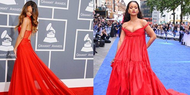 23. Rihanna'yı öncesi ve sonrası olarak koyduk ki iki hâliyle de kırmızı rengin yakıştığını göstermek istedik. 😍