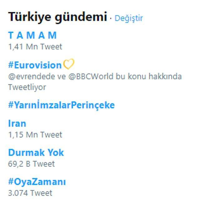 """Kısa sürede yapılan 1 milyondan fazla paylaşımla birlikte """"TAMAM"""" başlığı Türkiye ve dünya gündeminde Trend Topic listesinde zirveye yerleşti."""
