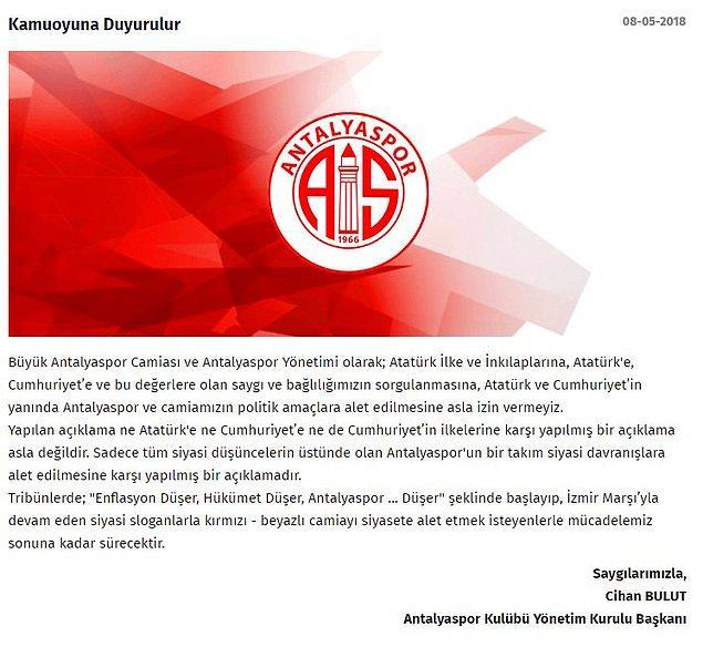 Gelen tepkiler üzerine Antalyaspor'dan ikinci açıklama;