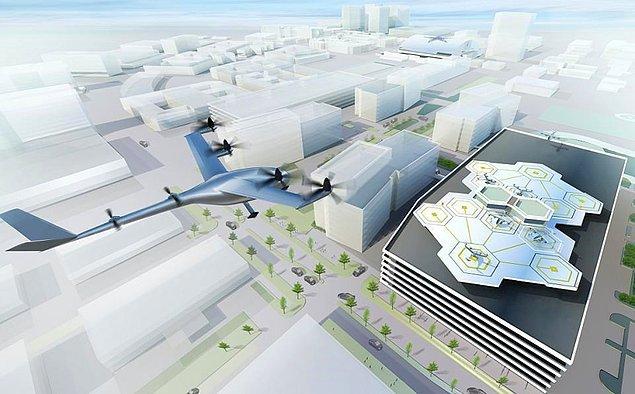 Los Angeles'ta düzenlenen Uber Elevate Zirvesi'nde Uber'in 2020'de uçurmayı umduğu uçan taksi prototipleri sergileniyor.