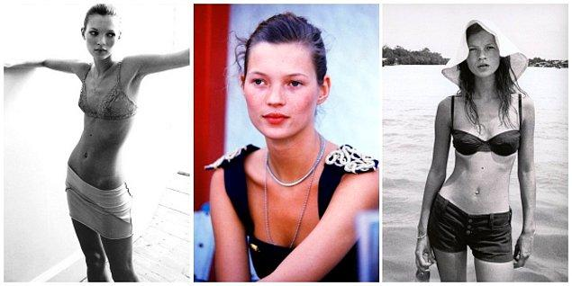9. 1990'lı yıllarda Kate Moss'la zirveye ulaşan ideal tip: Anoreksik vücut