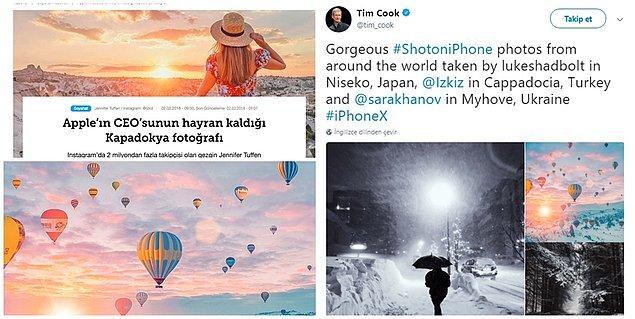 Yayınladığı fotoğraflar Apple yöneticisi Tim Cook'un da dikkatini çekmiş gibi görünüyor...😇