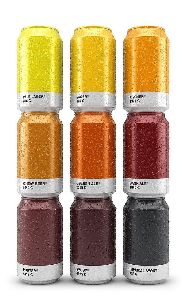 2. Bu harika tasarlanmış bira kutuları ise, içerisindeki biranın mayasına göre renklendirilmiş.