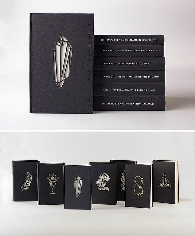 7. Harry Potter serisi için tasarlanmış kapak illüstrasyonları 😱