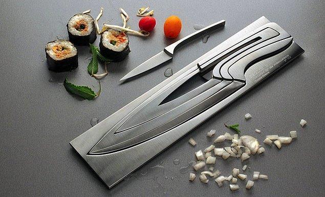 10. Delgon markasının aşırı kullanışlı ve şık bıçak seti tasarımı.