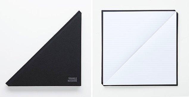 11. Üçgen şeklinde tasarlanmış çok şık bir defter...