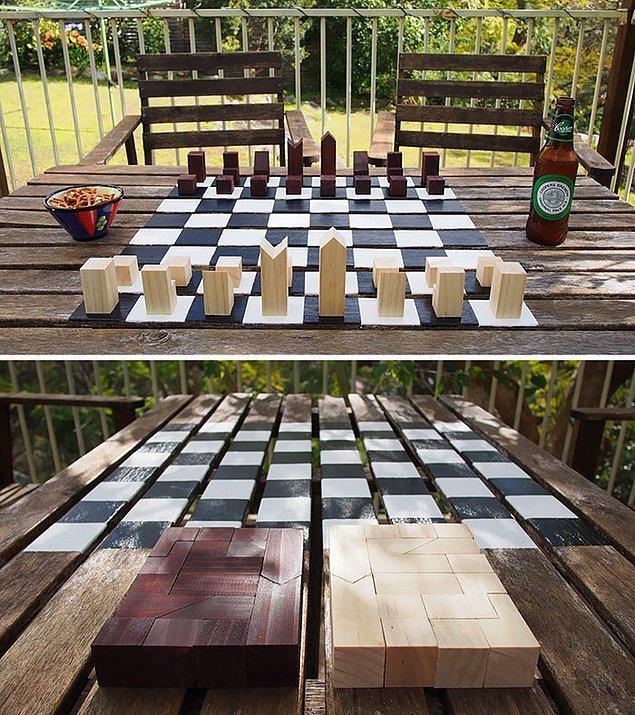 14. Bu minimalist satranç takımını çok seveceksiniz.