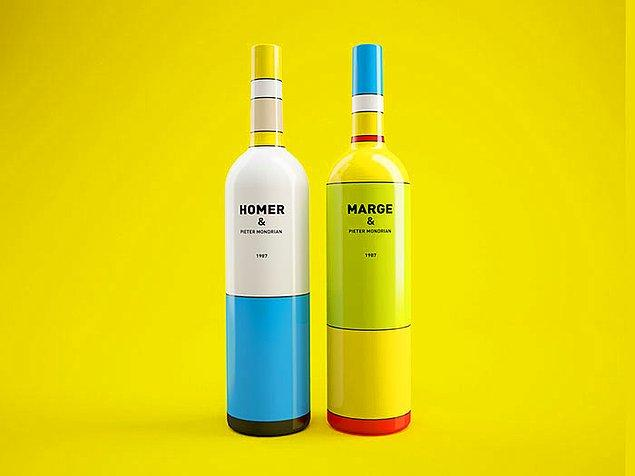 19. Efsane Simpsonlar dizisinden esinlenilmiş şarap şişeleri.  🍷