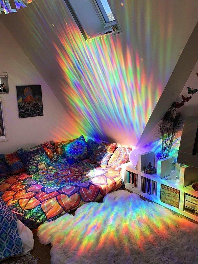6. Odanıza prizmatik bir cam filmi yaptığını düşünün.