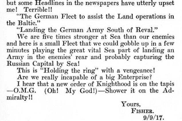 """2. """"O.M.G."""" (Aman Tanrım) kısaltmasının kayıt altındaki ilk kullanımı, 1917'de Winston Churchill'in yazdığı bir mektuptadır."""