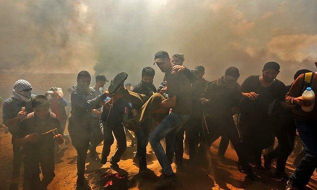 İsrail devletinin şiddetine sahne olan protestoya ait fotoğrafları sizler için derledik.