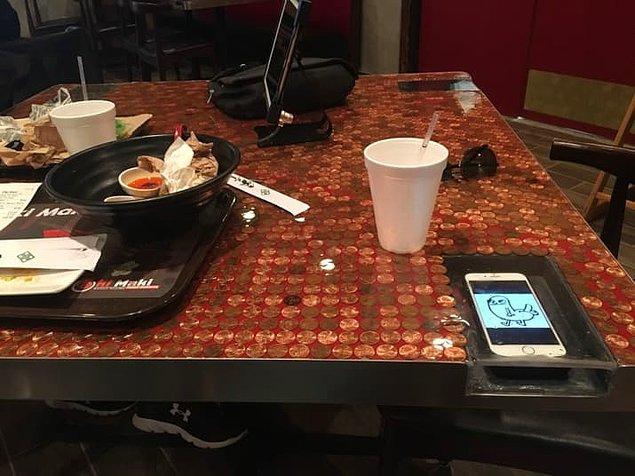 1. Masalarda bulunan bu küçük telefon odacığı ile telefonunuza herhangi bir şey dökülmesini engelleyebilirsiniz.