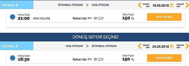 7. İstanbul'dan atlayıp Kaş'a gidiş dönüş otobüs bileti alabilirsiniz. Uçaktan bahsetmiyoruz şu an, sadece otobüs.